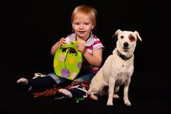 Niño con el perro Imagen de archivo