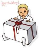 Niño con el regalo Fotografía de archivo