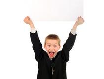 Niño con el tablero vacío Imagenes de archivo