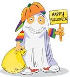 Niño con el traje del fantasma de Halloween (feliz Halloween) Fotos de archivo libres de regalías