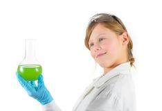Niño con el tubo químico Foto de archivo