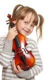 Niño con el violín Fotografía de archivo