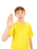 Niño con gesto de la denegación Fotografía de archivo