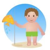 Niño con la barra de pesca Foto de archivo libre de regalías