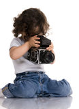 Niño con la cámara Fotos de archivo