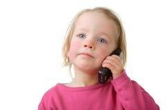 Niño con la célula Imagen de archivo libre de regalías