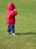 Niño con la chaqueta roja Foto de archivo libre de regalías