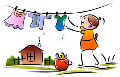 Niño con la cuerda para tender la ropa stock de ilustración