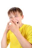 Niño con la espinilla Foto de archivo