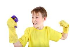 Niño con la esponja del baño Imágenes de archivo libres de regalías