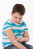 Niño con la inyección Foto de archivo