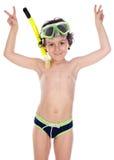 Niño con la máscara del salto Foto de archivo libre de regalías