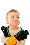 Niño con la naranja Fotografía de archivo libre de regalías