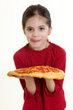 Niño con la pizza Fotografía de archivo libre de regalías
