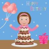 Niño con la torta de cumpleaños - muchacha ilustración del vector