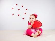 Niño con los corazones Foto de archivo libre de regalías