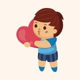 Niño con los elementos del tema del corazón Foto de archivo