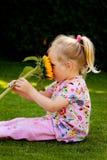 Niño con los girasoles en el jardín en verano Fotos de archivo libres de regalías