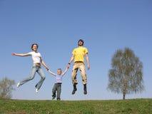 Niño con los padres de la mosca Fotografía de archivo libre de regalías
