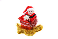 Niño con los regalos en el rectángulo #2 foto de archivo libre de regalías