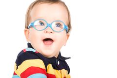 Niño con los vidrios imágenes de archivo libres de regalías