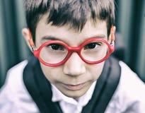 Niño con los vidrios Fotografía de archivo libre de regalías