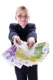 Niño con mucho dinero Imagen de archivo libre de regalías