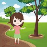 Niño con paisaje precioso stock de ilustración