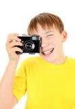 Niño con Photocamera Imagen de archivo libre de regalías