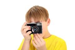 Niño con Photocamera Imagenes de archivo