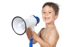 Niño con un megáfono Fotos de archivo libres de regalías