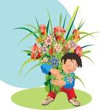 Niño con un ramo. Foto de archivo libre de regalías