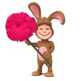 niño 3d en el traje del conejito que sostiene una rosa roja Foto de archivo