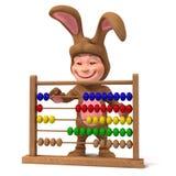 niño 3d en traje del conejito con el ábaco stock de ilustración