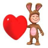 niño 3d en traje del conejito con el corazón rojo libre illustration