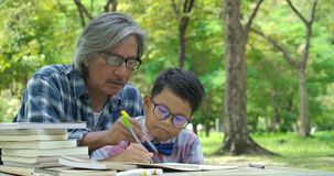 Niño de ayuda del hombre mayor con la preparación de la escuela en el parque almacen de metraje de vídeo