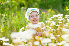 Niño de dos años en el prado de la manzanilla Imagenes de archivo