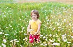 Niño de dos años en prado Imagen de archivo