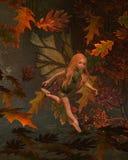 Niño de hadas de la hoja con el fondo del otoño (caída) ilustración del vector