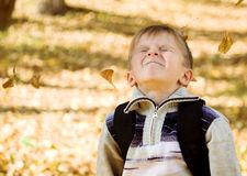 Niño de la acción del otoño que juega en hojas Fotos de archivo