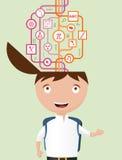 Niño de la escuela que consigue a información la manera dura Imagen de archivo libre de regalías