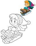 Niño de la historieta - actividad - ejemplo para los niños Fotos de archivo libres de regalías