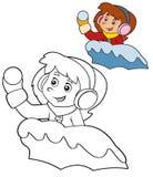 Niño de la historieta - actividad - ejemplo para los niños Imagen de archivo
