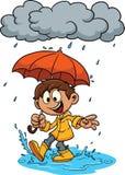Niño de la historieta con el paraguas stock de ilustración