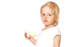 Niño de la muchacha en el chaleco blanco Imágenes de archivo libres de regalías