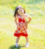 Niño de la niña con las flores al aire libre en verano Fotos de archivo