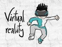 Niño de la realidad virtual Fotos de archivo