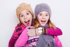 Niño de las niñas sorprendido Imagen de archivo libre de regalías