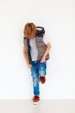 Niño de moda cerca de la pared Imagen de archivo libre de regalías