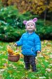 Niño de risa que se coloca en un parque del otoño fotos de archivo libres de regalías